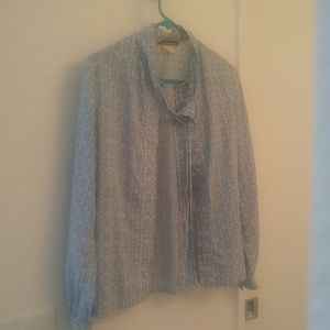 Vintage Secretary shirt, blue and white flower pat